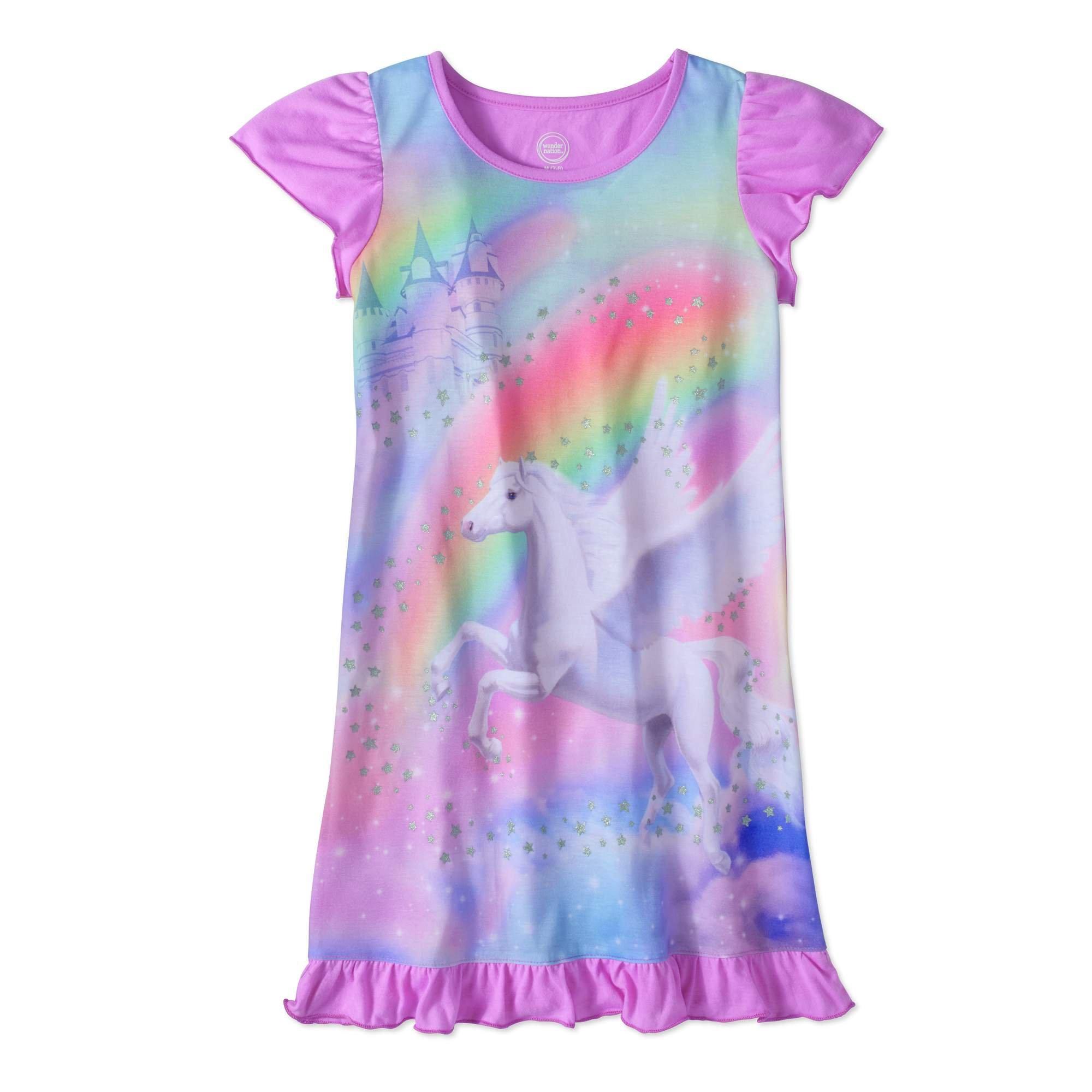 Wonder Nation Girls Short Sleeve Ruffle Sleep Gown (7-8, Purple Horse)
