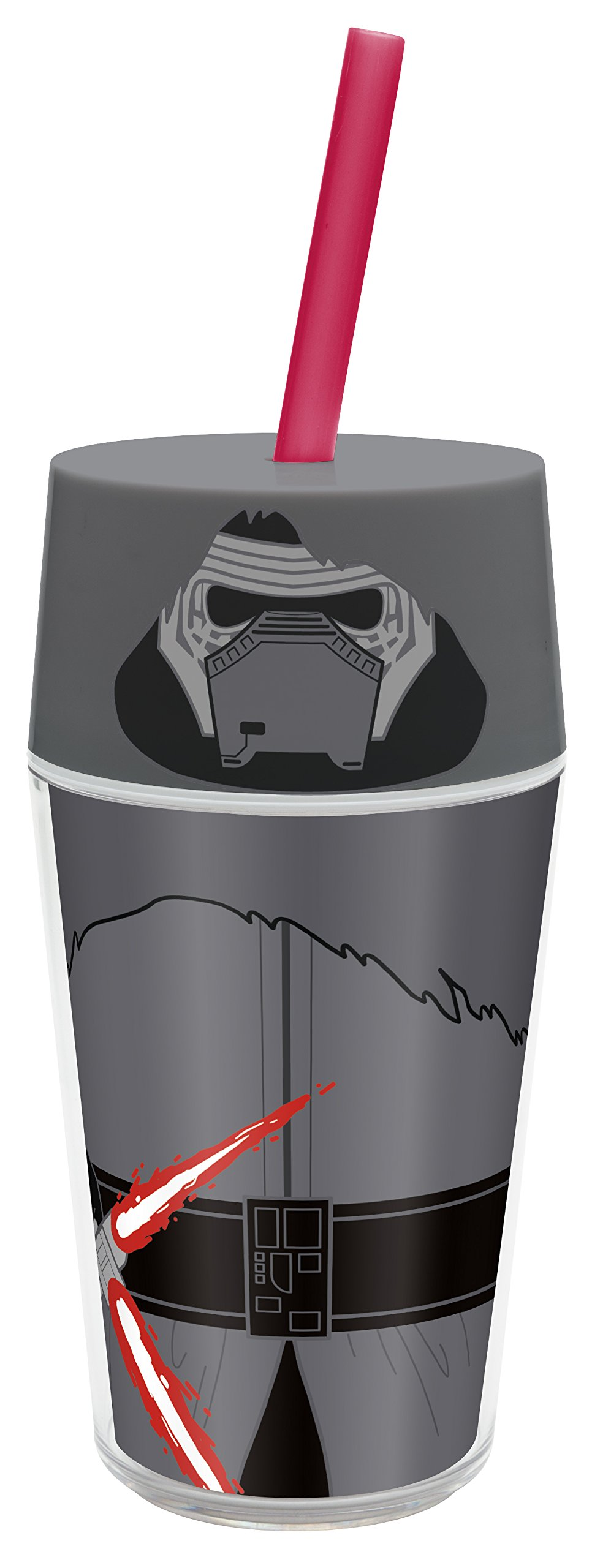 Zak! Designs Insulated Iconic Tumbler with Screw-on Lid and Straw featuring Kylo Ren from Star Wars The Force Awakens, Double Wall Construction, BPA-free Plastic, 13 oz.
