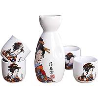 Panbado Japanese Sake Set de gres, 5 piezas, con 1 botella de sake y