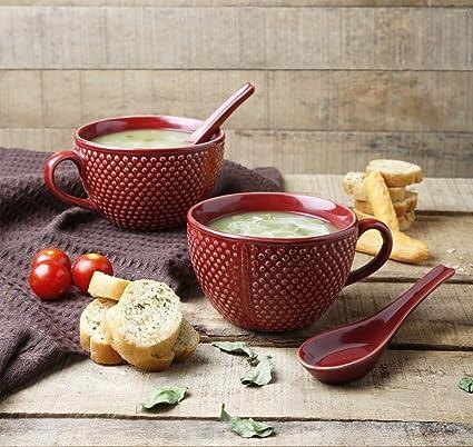 Store Indya, 8 colores Hecho a mano Juego de 2 Tazon de sopa de ceramica