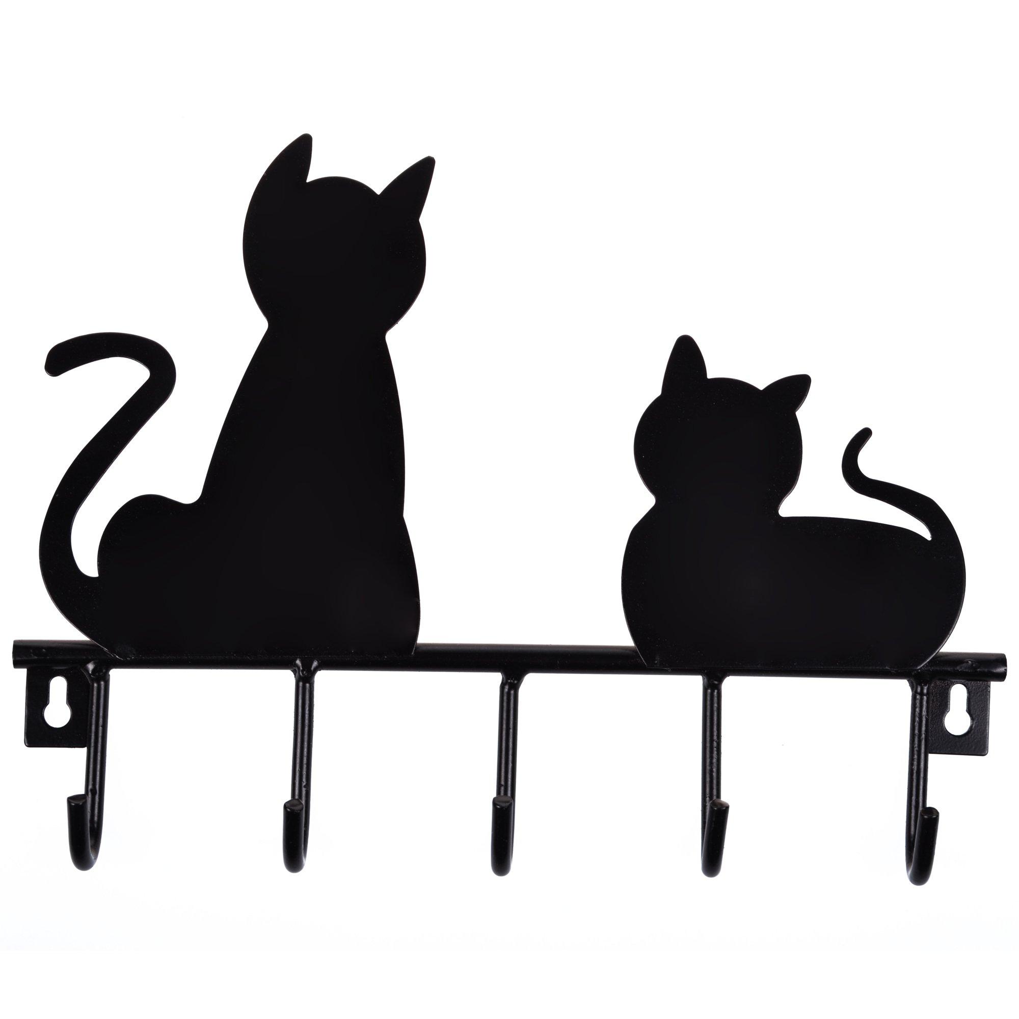 Bluecell Black Cats Solid Metal Wall Mounted 5-hooks Storage Rack / Key Hook/ Holder