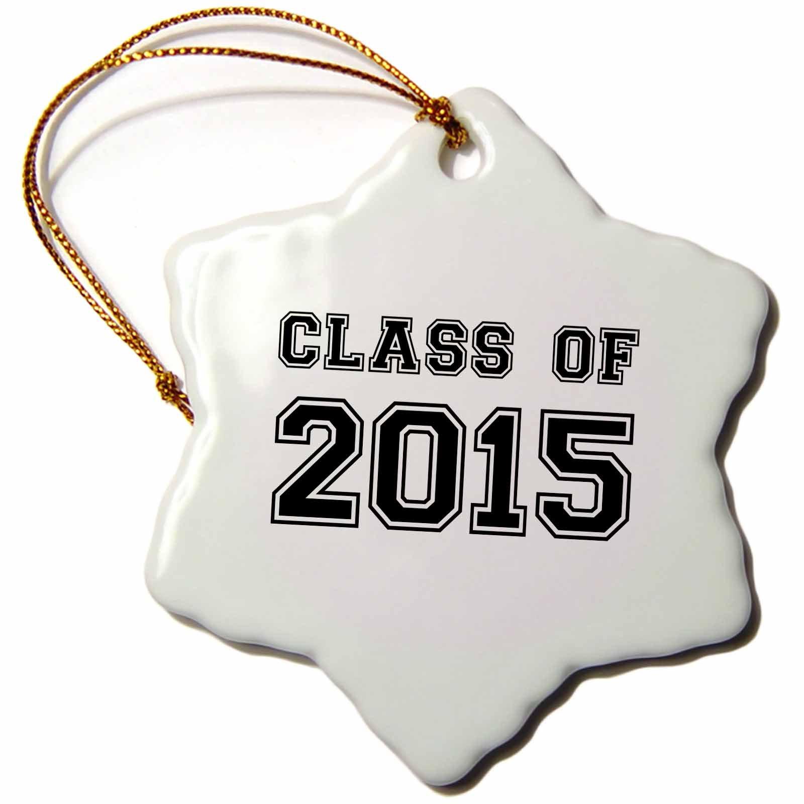 3dRose InspirationzStore Typography - Class of 2015 - Graduation gift - graduate graduating high school university or college grad black - 3 inch Snowflake Porcelain Ornament (orn_162666_1)