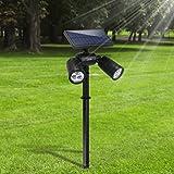 [Upgraded 300Lumen] Gartenleuchten 6LED Außenbeleuchtung Weißes Helle Solarleuchten Verstellbare Lampen nicht nur für den Boden auch für Wände Wasserdicht Spotlight für Garten Outdoor Landscape Yard Rasen Pathway