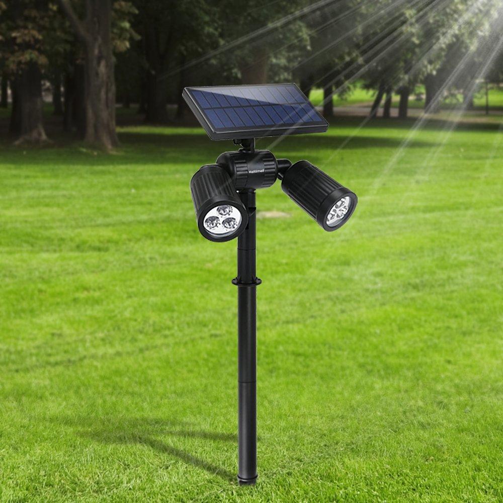 Lámparas Solares Farola Jardín Solar Focos LED Exterior 6 LEDs Luces Impermeable IP65 Apliques de pared Solar Ajustable con 2 Modos para Jardín Patio ...