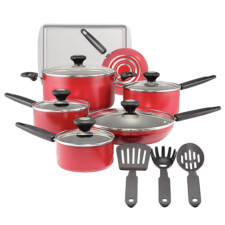 調理器具セット 鍋とフライパン ノンスティック アルミ 調理 フライキット ガラス蓋付き 15点 オーブン使用可。 ソースパン ストックポット フライパン キッチンツール 15 Piece レッド  レッド B07PCHVX58
