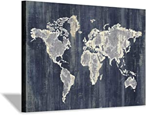 Hardy Gallery World Map Wall Art Picture: Navy Blue Abstract Map Painting Print on Wrapped Canvas for Office Living Room (45'' x 30'' x 1 Panel)