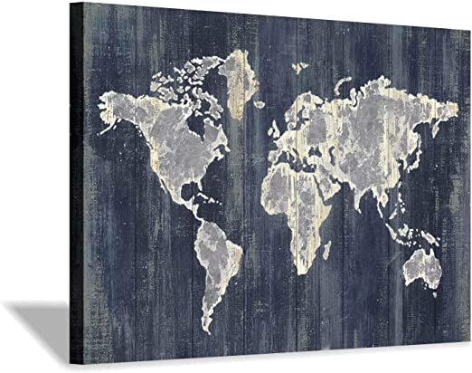 World Atlas Metal Modern Gold Maps Flags MULTI CANVAS WALL ART Picture Print
