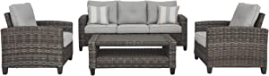 Signature Design by Ashley P334-081 Cloverbrooke Seating Conversation Set-Set of 4, Gray