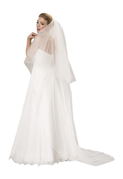 Braut-Schleier Hochzeit Schleier fur die Braut, 2 Schicht, Breite 270 cm, Lange 90/230 cm, mit 80 Kristalle an den Ränden