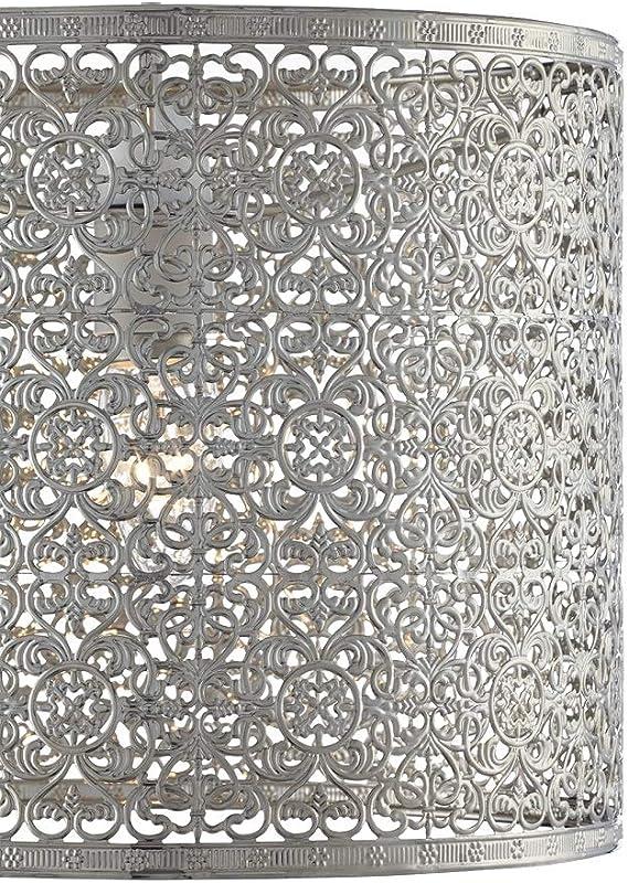 poliertes Nickel Zylinderform ge/ätztes Metall Britalia GIO1001 Giotto Lampenschirm 25,5 cm nicht elektrisch passt auf vorhandene Deckenlampenhalter