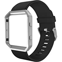 Simpeak Band Compatible with Fit bit Blaze, Silicone Replacement Wrist Strap with Meatl Frame Replacement for Fit bit Blaze, Large, Black Band+Silver Frame