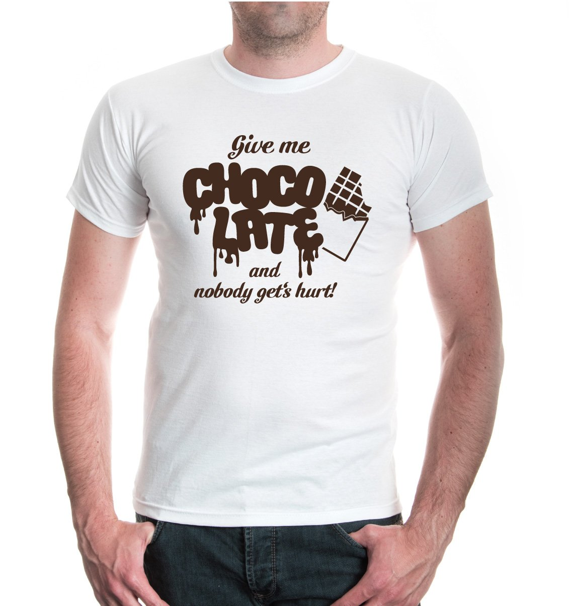 Amazon.com: buXsbaum T-Shirt Give me Chocolate and nobody gets hurt:  Clothing