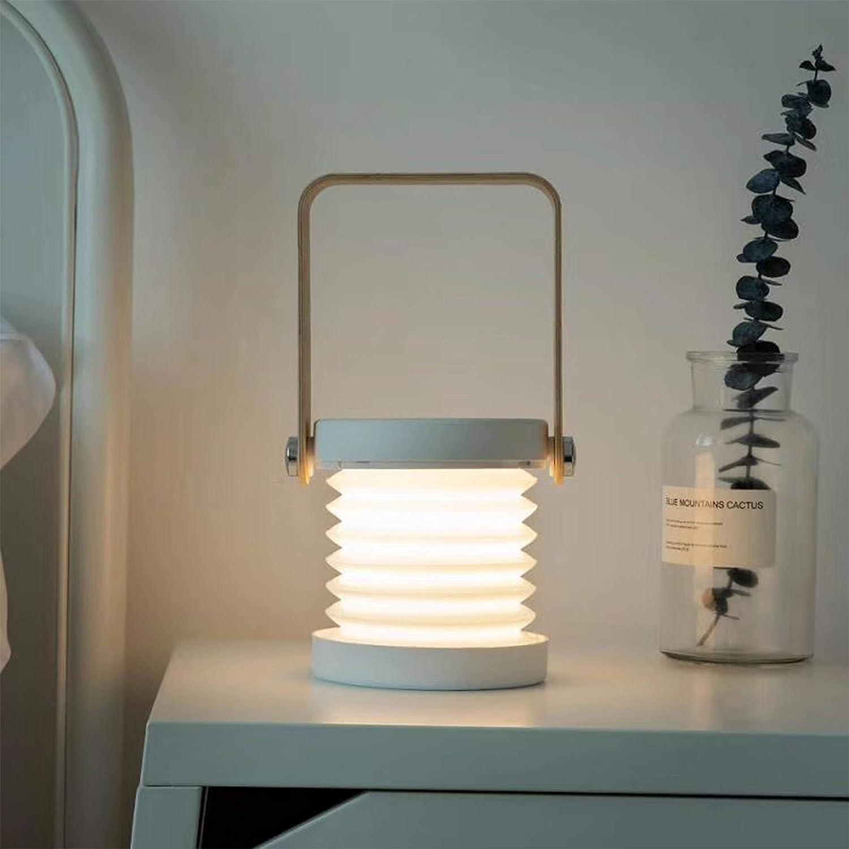 Innerest Night Light Wooden Book Folding Lamp Desk Table Home Décor Kids Bed Lighting (Grey- Wooden, One Size)
