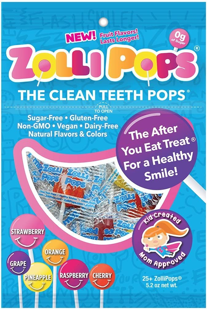 B00NUW6GHG Zollipops The Clean Teeth Pops, Anti Cavity 25 Count Lollipops, Delicious Assorted Flavors, 5.2 Ounce (Pack of 1) 715xnY5YPFL