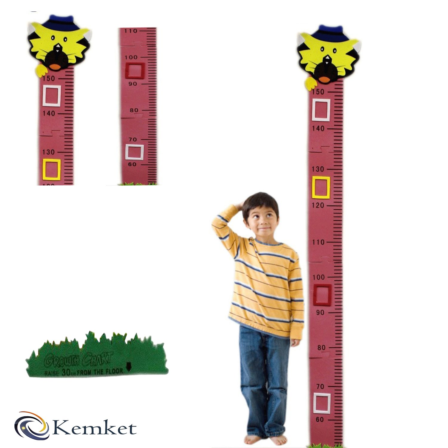 Children's Height Chart Wall Stickers: Perfect for a Child's Bedroom or Baby Nursery: A Wonderful Educational Tool & Fun Gift Idea! (1.5m, Cat) Kemket
