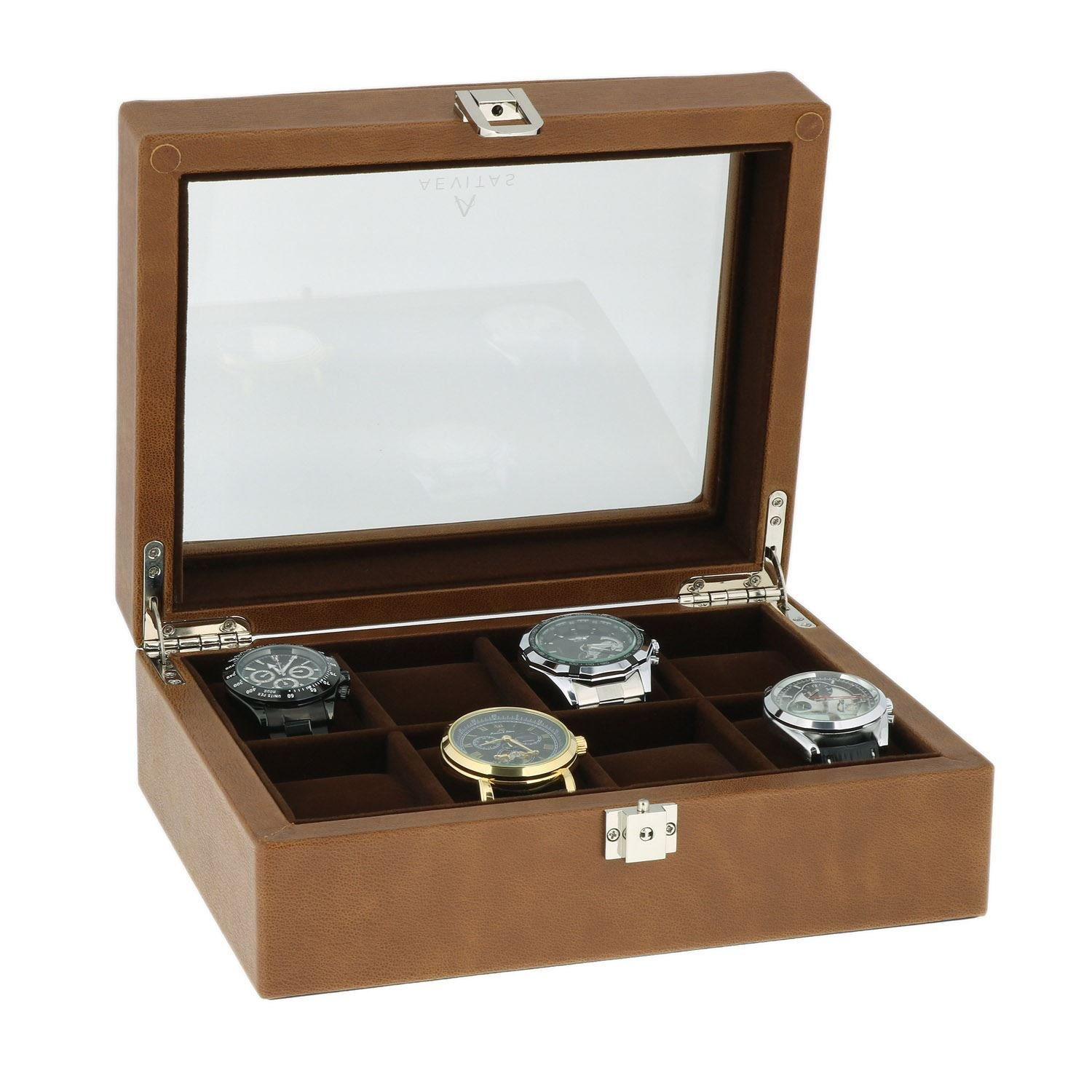 Brown Genuine Leather Watch Collectors Box for 8 Wrist Watches Velvet Lining by Aevitas
