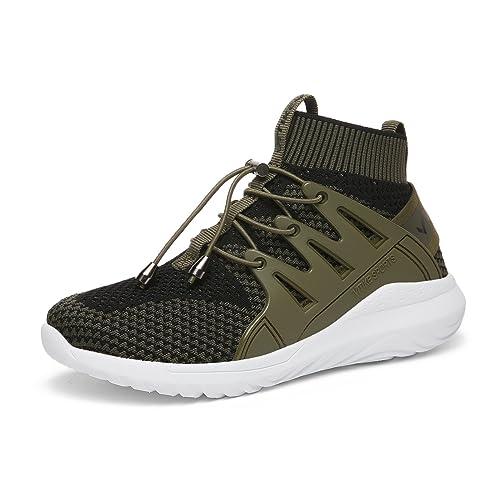 Garçon et Fille Chaussure de Course Sport Walking Shoes Outdoor Running Fitness  Sneakers(Vert EU38 a228de4683e