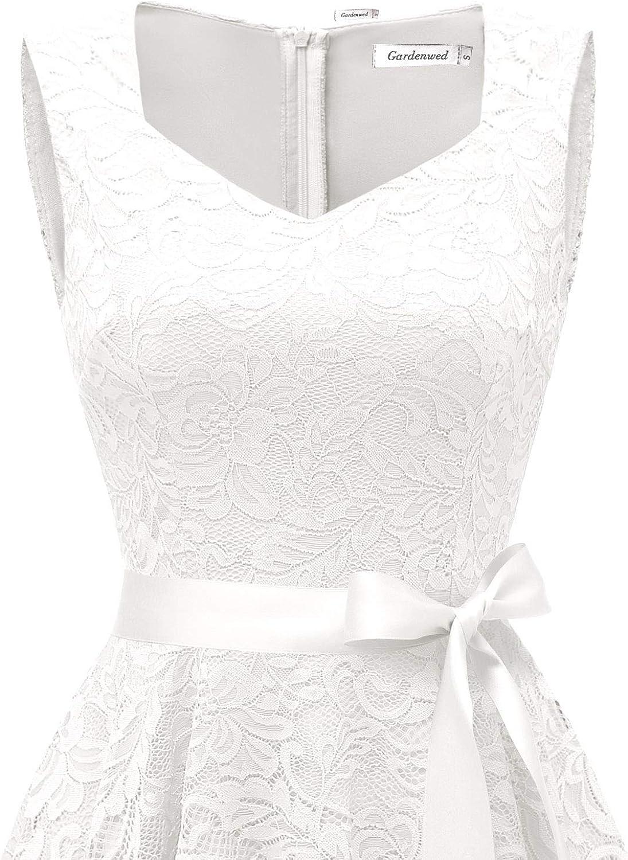 Gardenwed Elegant Floral Lace Bridesmaid Dresses Sleeveless V Neck Formal Dresses Cocktail Dresses for Women