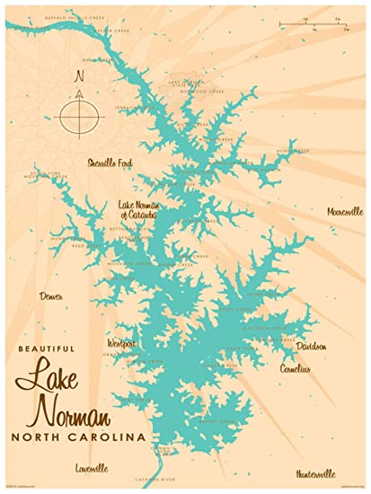 image regarding Printable Map of North Carolina identify : Lake Norman North Carolina Map Traditional-Style and design Artwork