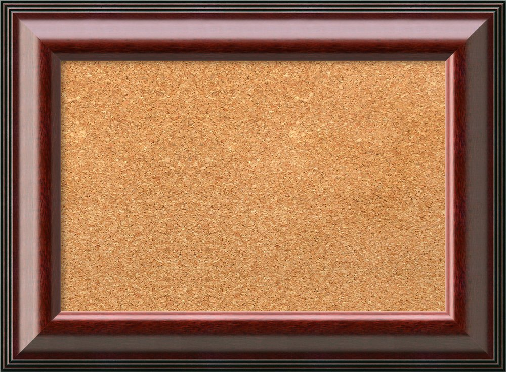 Amanti Art Choose Your Custom Size Natural Cork Cambridge Mahogany Framed Bulletin Boards, 22 x 16