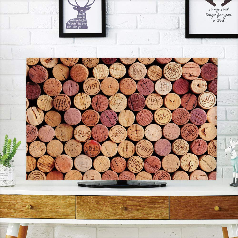 iPrint LCD TV Cover Multi Style,Wine,Random Selection of Used Wine Corks Vintage Quality Gourmet Taste Liquor,Mustard Mauve Maroon,Customizable Design Compatible 42'' TV