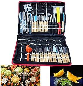 80pcs Kitchen Carving Tools Kit, Vegetable Fruit Food Peeling Carving Tools Dining Cutlery Kitchen Garnishing/Cutting/Chisel Garnish Tools Kit with Hand Box (USA Stock)