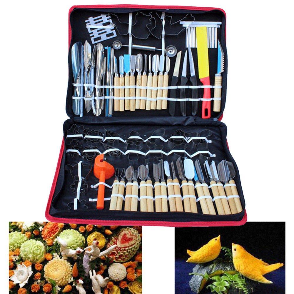 80pcs Kitchen Carving Tools Kit, Vegetable Fruit Food Peeling Carving Tools Dining Cutlery Kitchen Garnishing/Cutting / Chisel Garnish Tools Kit with Hand Box (USA Stock)