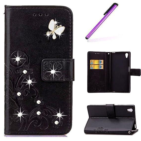 EMAXELERS Sony Xperia Z2 Hülle Schmetterling PU Leder Lederhülle Flip Tasche Wallet Schutzhülle Etui Bookstyle Handyhülle Hül