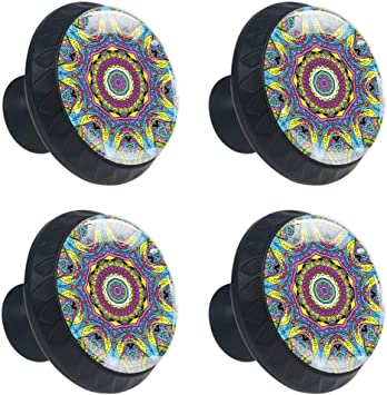 4 Cabinet Knobs for Dresser Drawers Cabinet Handles Pulls for Home Office Cupboard Abract Flowers