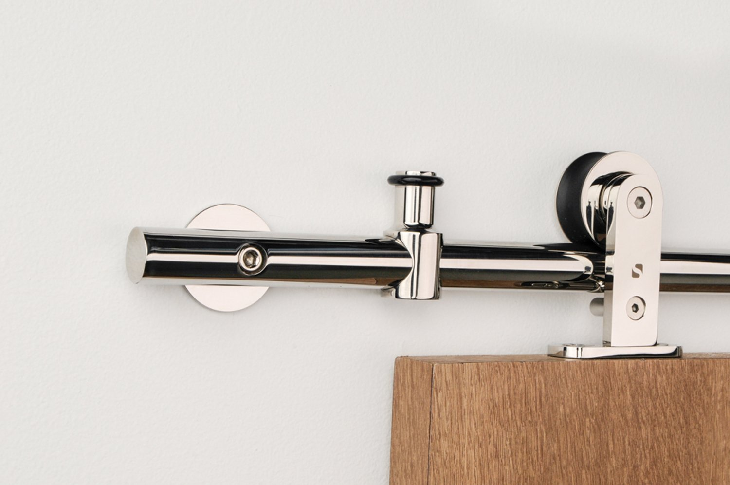 Contemporary Sliding Barn Door Hardware For Wood / Polished Chrome Finish / Stainless Steel - Legacy WT Series (6' Rail Length)