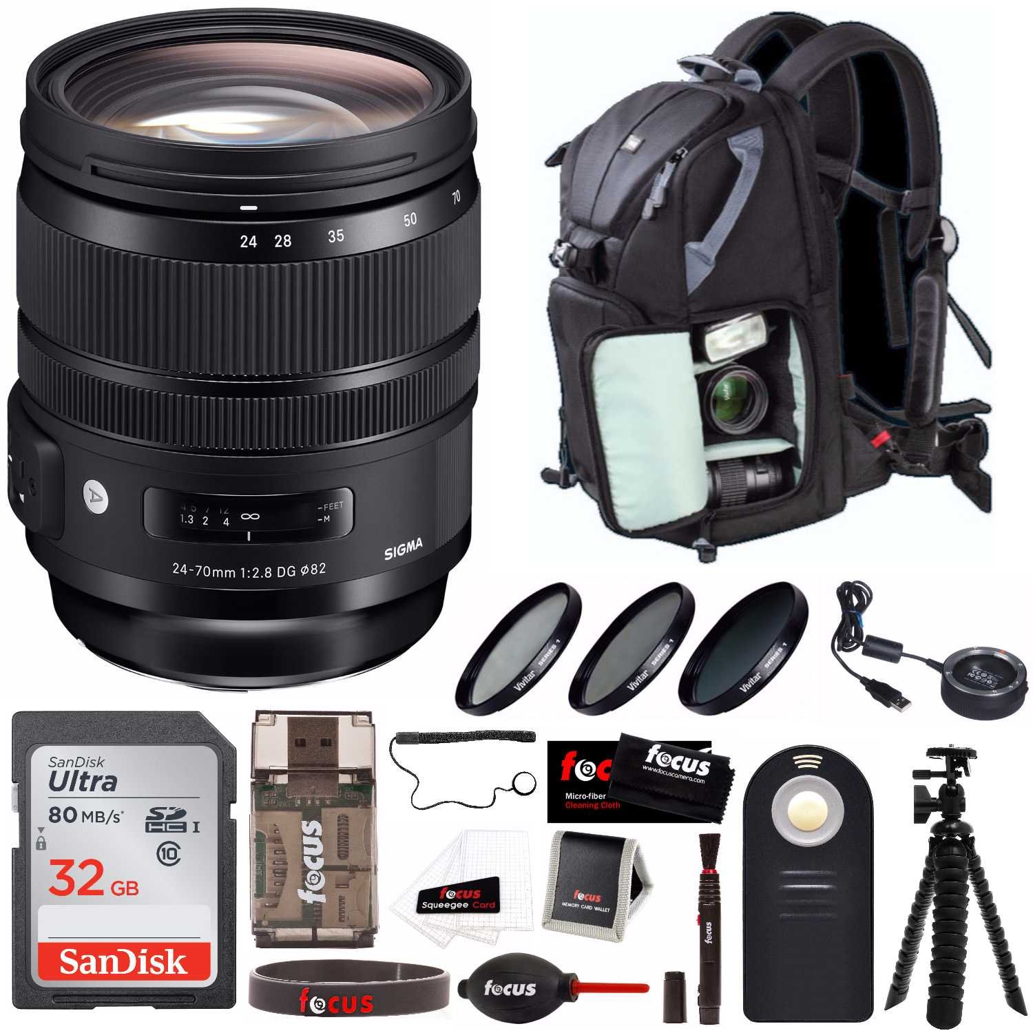 Sigma 24-70mm f/2.8 DG OS HSM Art Lens with Sigma USB Dock and Advanced Photo and Travel Bundle (For Canon)