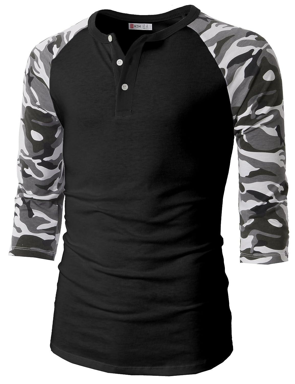 【H2H】ベーシック メンズ カジュアル ファッション オシャレ カラー ヘンリーネック 七分袖 ティーシャツ CMTTS0174 B01LWMZ2JG 5L ブラックカモフラージュ ブラックカモフラージュ 5L