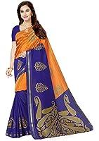 Ishin Silk Saree With Blouse Piece (Swrya-Doublezariblue_Orange_Free Size)