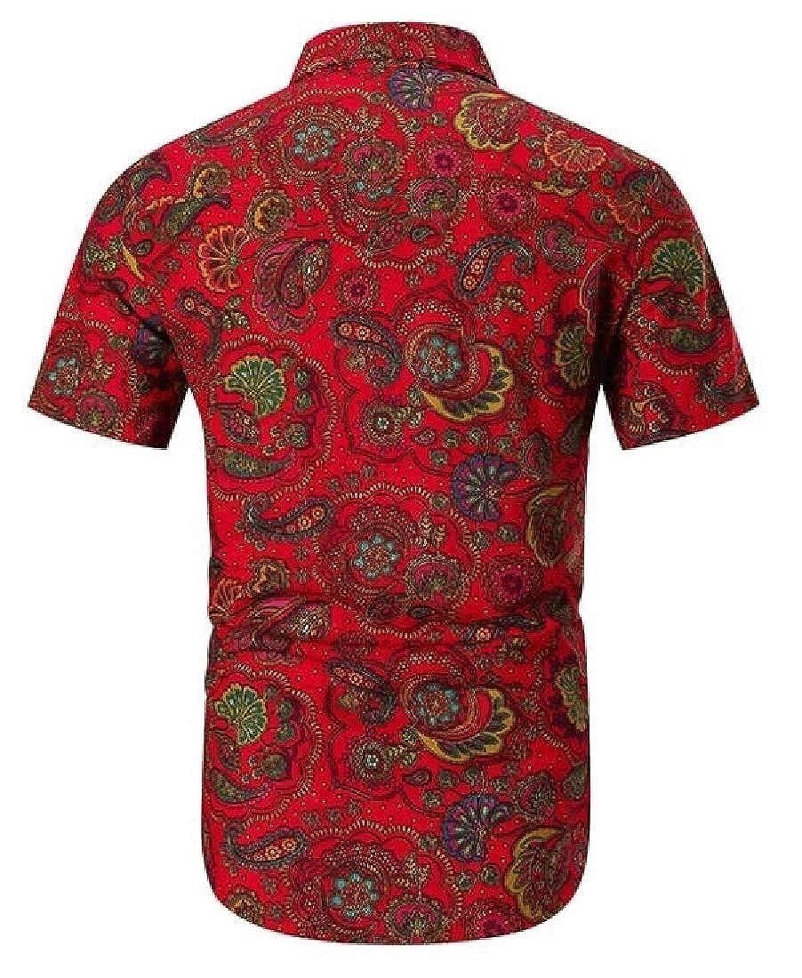 Generic Mens Stylish Short Sleeve Print Pattern Aloha Party Shirt Button Down Dress Shirts