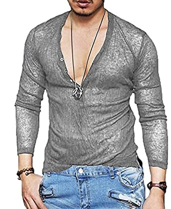 c98544d607d4 Amazon.com: Men's Deep V Neck Slim Fit Short Sleeve T-Shirt Tee Tops ...