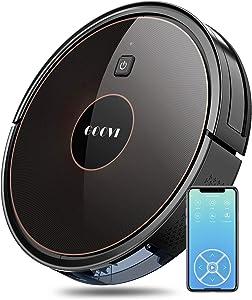 GOOVI Robot Vacuum, 1600PA Robotic Vacuum Cleaner with Wi-Fi, Super-Thin, Self-Charging Robot Vacuum Cleaner, Best for Pet Hairs Hard Floors & Medium-Pile Carpets-Black