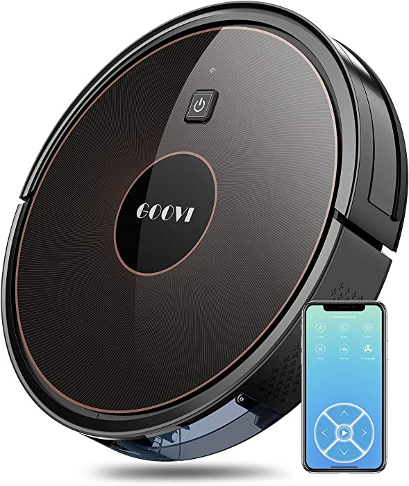 GOOVI Robot Vacuum, 1600PA Robotic Vacuum Cleaner with Wi-Fi, Super-Thin, Self-Charging Robot Vacuum Cleaner, Best for Pet Hairs Hard Floors & Medium-Pile Carpets-Black