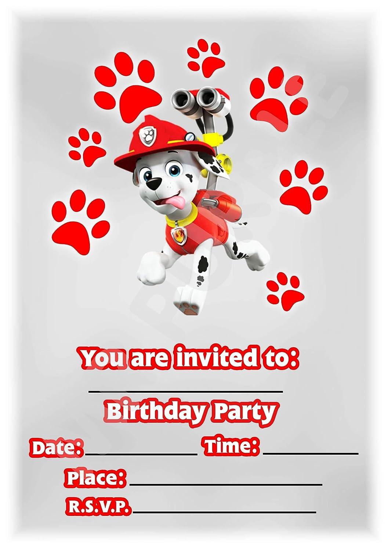 Paw Patrol Birthday Party Invites Marshall Portrait Paw