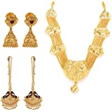 GoldNera Traditional Gold Plated Necklace with Kaan chain and Jhumki Earring