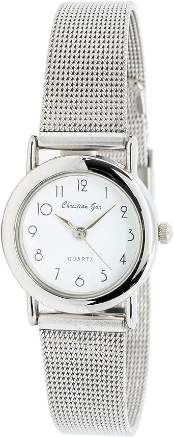 Christian Gar Cg-18901 Reloj Analógico para Mujer Colección Collection CG Caja De Metal Esfera Color Blanco: Amazon.es: Relojes