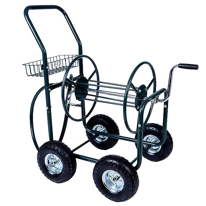 KARMAS PRODUCT 4 Wheels Portable Garden Hose Reel Cart with Storage Basket Rust Resistant Heavy Duty Water Hose Holder