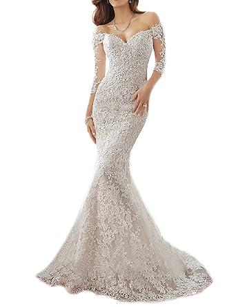 Oyisha shoulder lace mermaid wedding dresses 12 sleeve bridal oyisha shoulder lace mermaid wedding dresses 12 sleeve bridal gown wd164 ivory 2 junglespirit Image collections