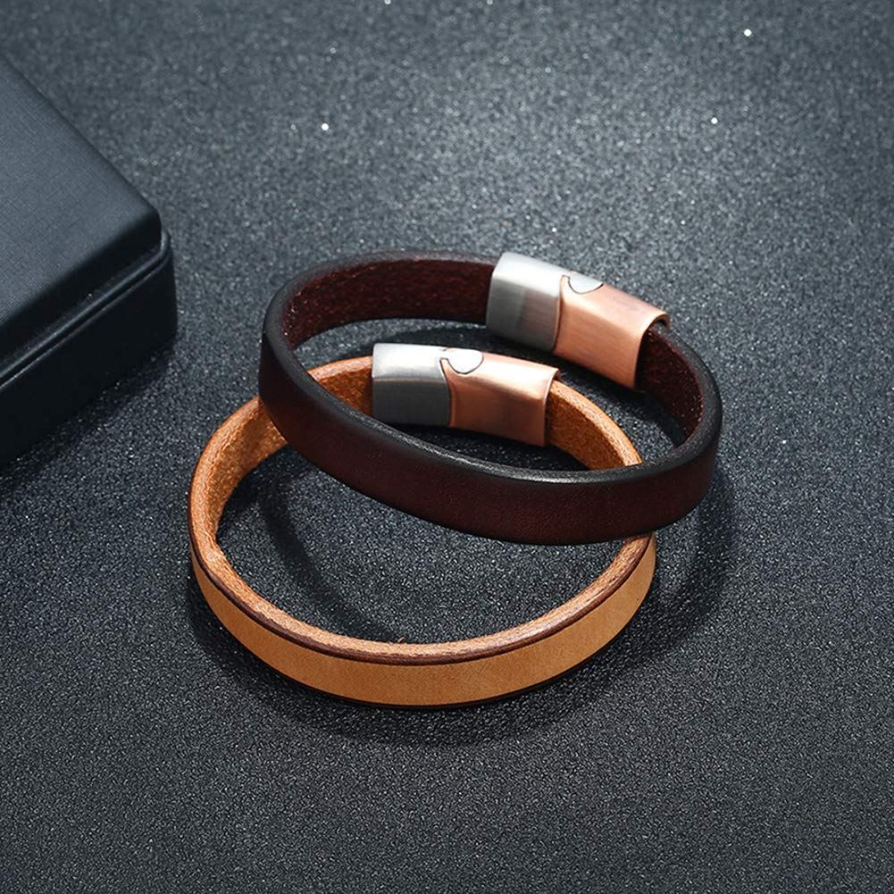 Shineweb Vintage Men Faux Leather Dual Color Magnetic Clasp Bracelet Bangle Wristband L Dark Brown