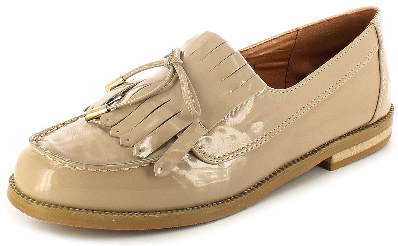 c407f2c28 Nuevo Mujer Beige Charol Mocasines con Shoestring Adorno Lazo Charol NUDE -  GB Tallas 3-