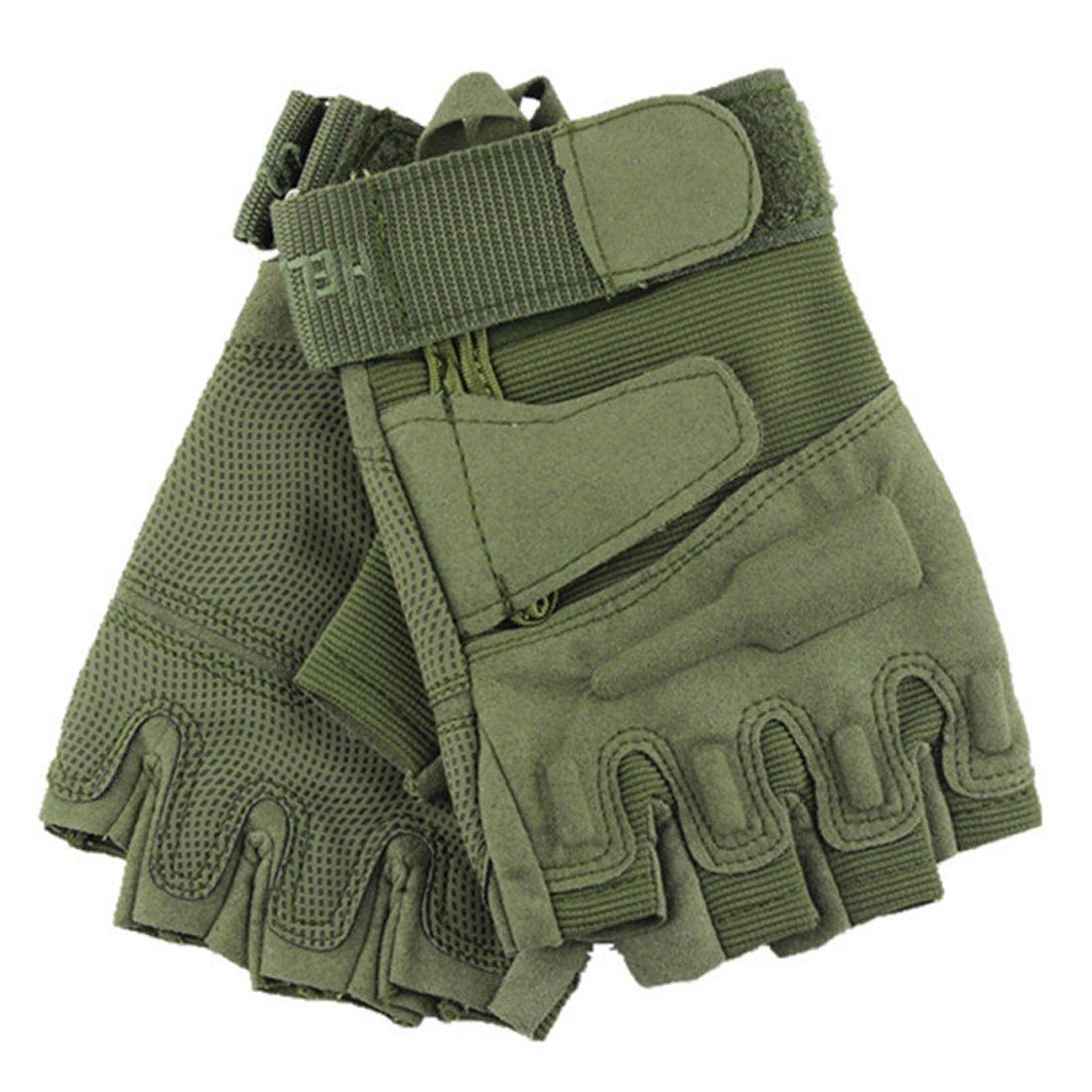 Yihya Traspirante Anti-Scivolo Guanti army green Tattici Militari Sportivi Tactical Outdoor Sport Fitness Barretta Airsoft Pesca Palestra Caccia Equitazione Completa Finger Guanti Gloves - M
