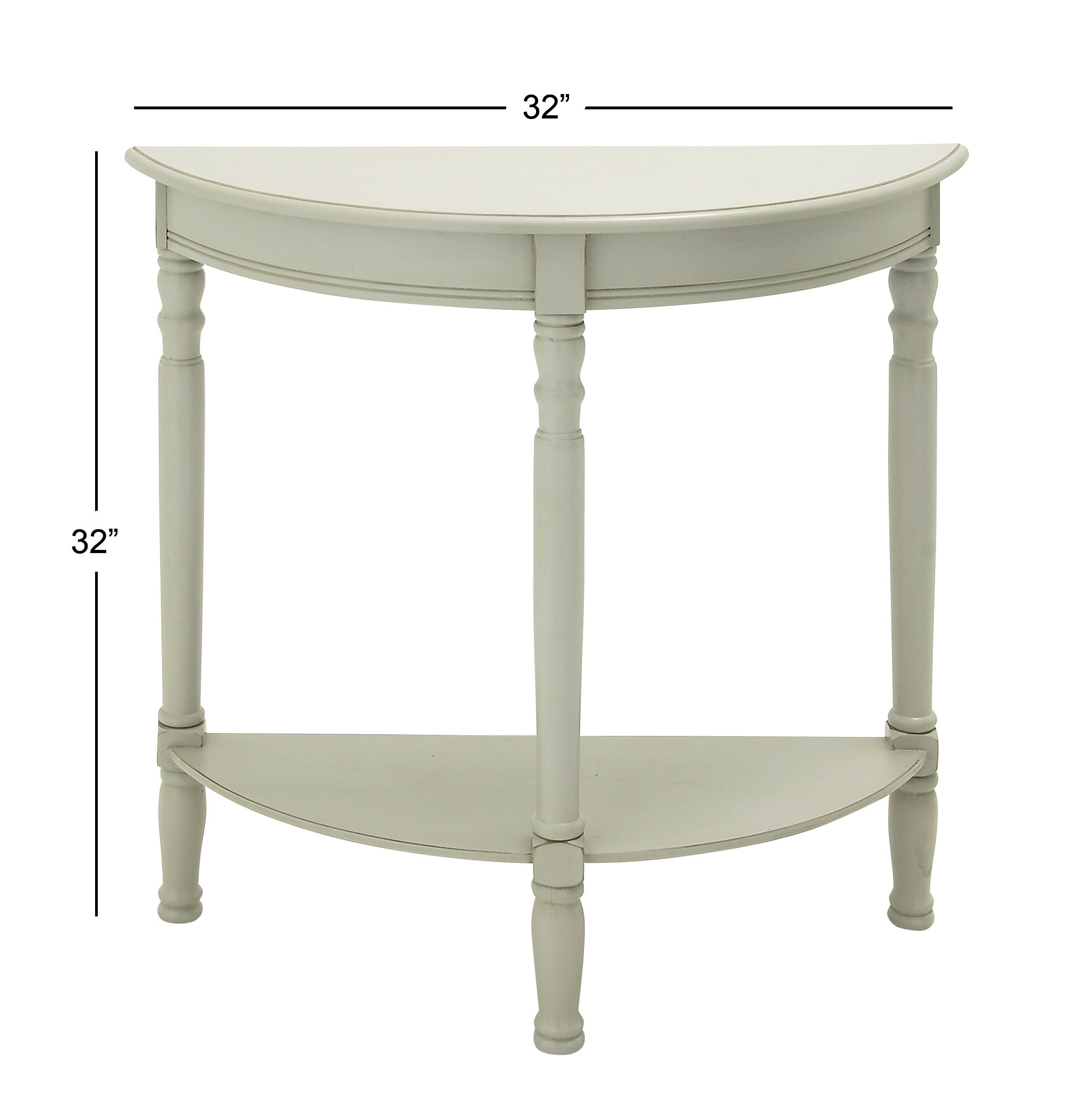 Deco 79 96328 Wood 1/2 Round Console Table, 32'' x 32'', Ivory