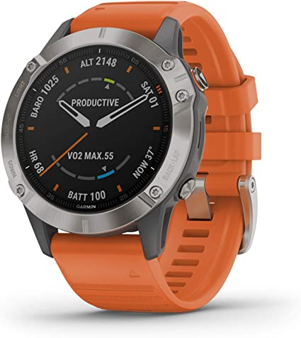 Garmin Fenix 6 Sapphire, Premium Multisport GPS Watch, features Mapping, Music, Grade-Adjusted Pace Guidance and Pulse Ox Sensors, Titanium with ...