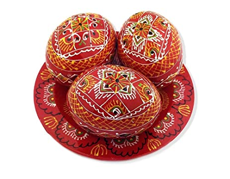 High Quality 3 Red Ukrainian Hand Painted Wooden Easter Eggs Pysanky On Plate 2 5/8 Inch
