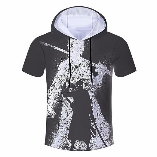 a15baf8a SportsX Mens Short Sleeve Oversize Summer Floral Printed Hood Tees Shirt  Black XS