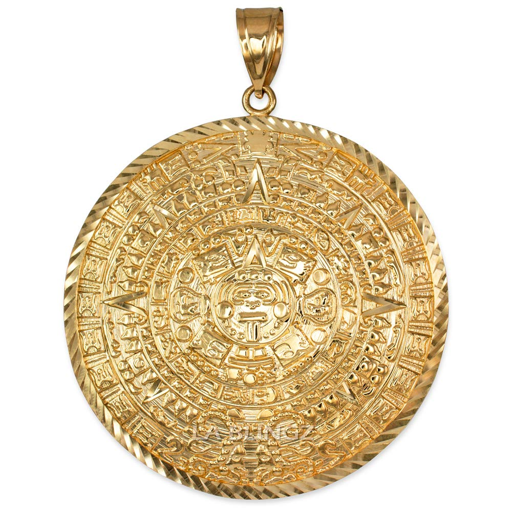 LA BLINGZ 14K Yellow Gold Aztec Mayan Sun Calendar Extra Large Pendant (XL/XXL) (XXL) by LA BLINGZ (Image #1)